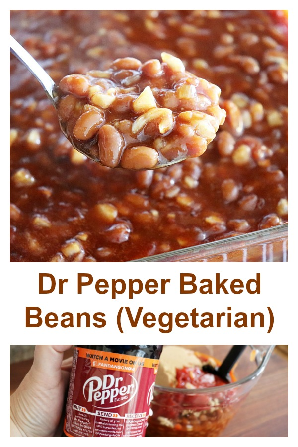 Pinterest image for Dr Pepper Baked Beans {Vegetarian}