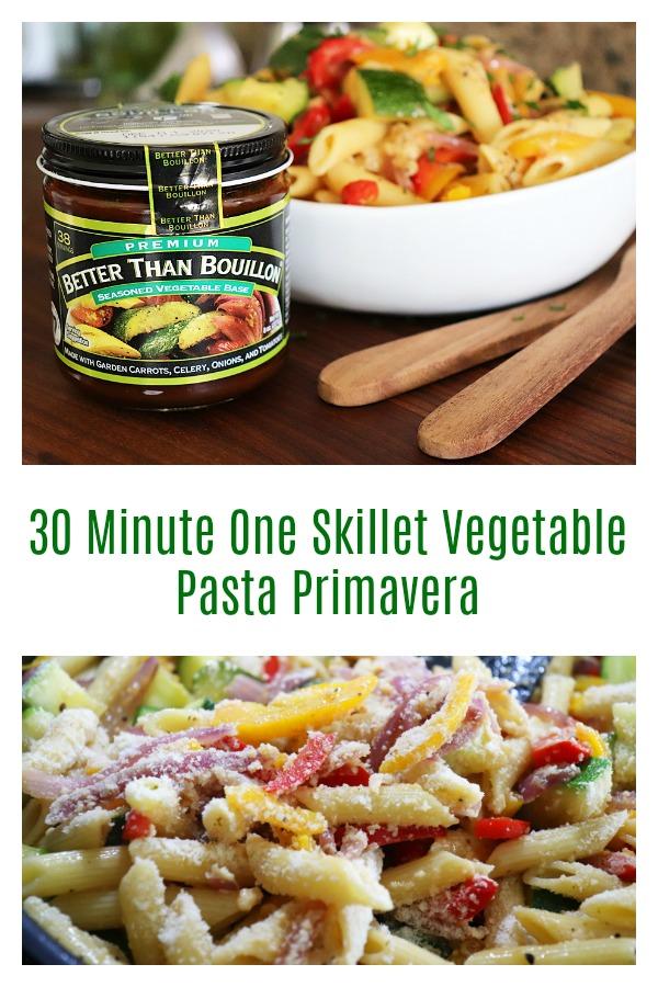 Pinterest image for 30 Minute One Skillet Vegetable Pasta Primavera