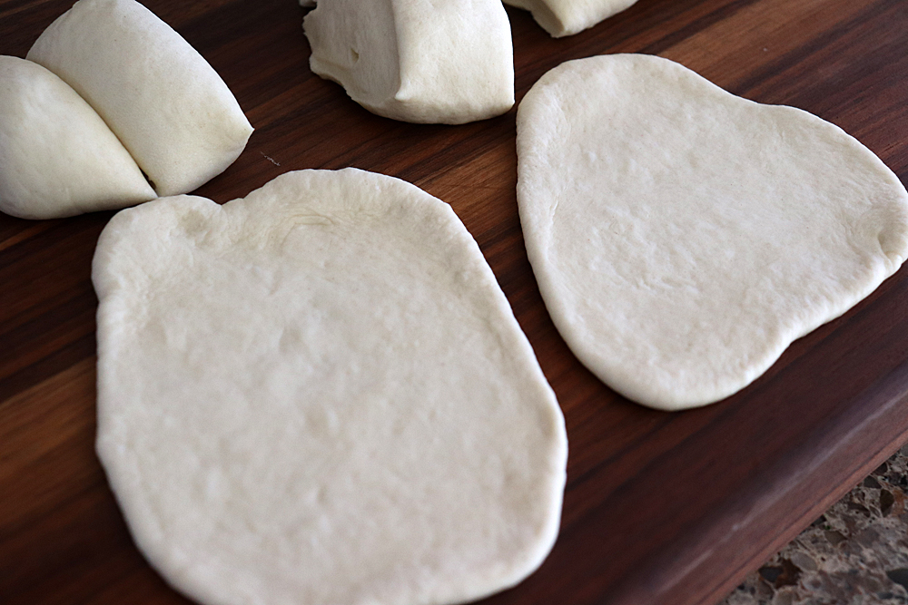Rolling the dough for the Easy Vegan Naan Bread