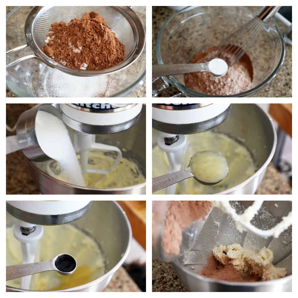 Collage of step by step baking method used for Vegan Chocolate Sugar Cookies