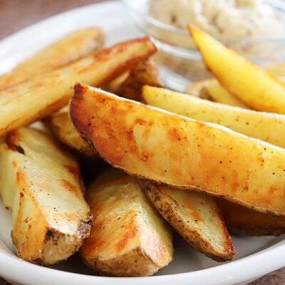 Oven Roasted Potato Wedges with Vegan Mustard Butter