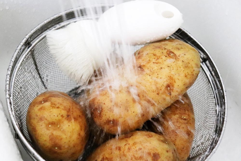 Washing Potatoes with scrub brush