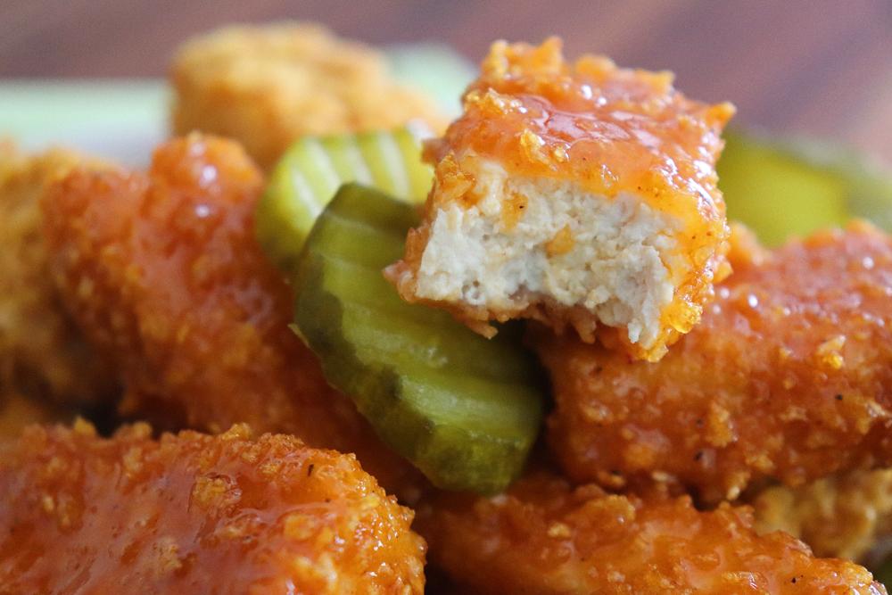 Bite Shot for Vegan Nashville Hot Tofu Nuggets Recipe