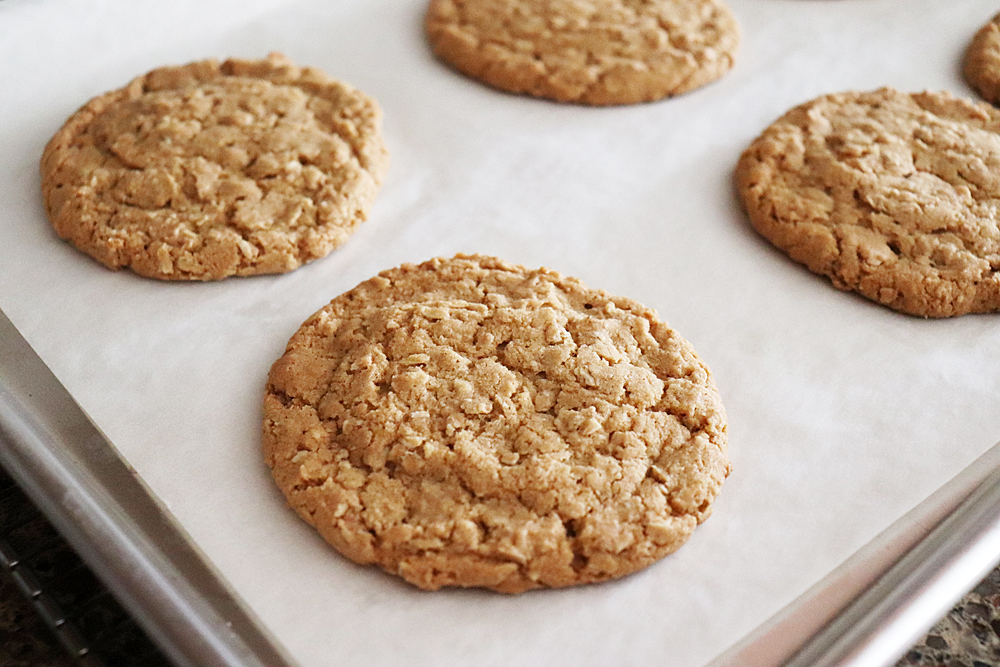 Baked Giant Old Fashioned Chewy Oatmeal Cookies