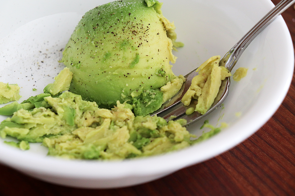 Mashed Avocado with Fork