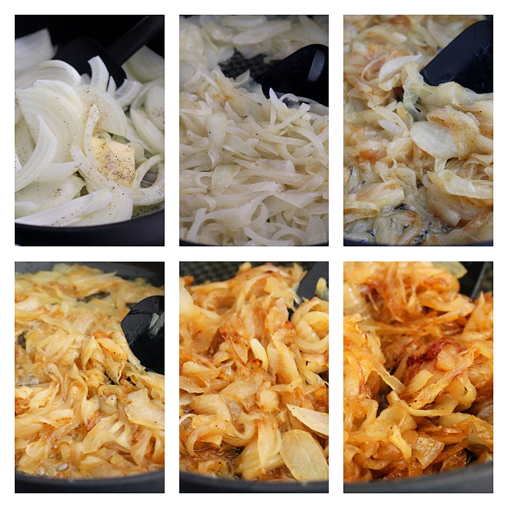 Caramelizing Onions Collage