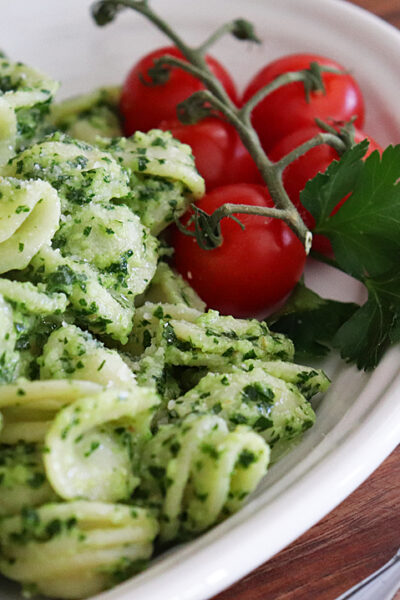 Vegan Parsley Pesto Pasta Recipe Hero Shot