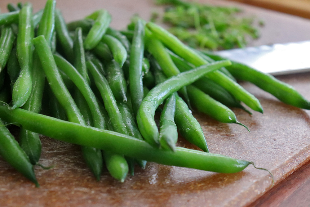 Prepping the green beans