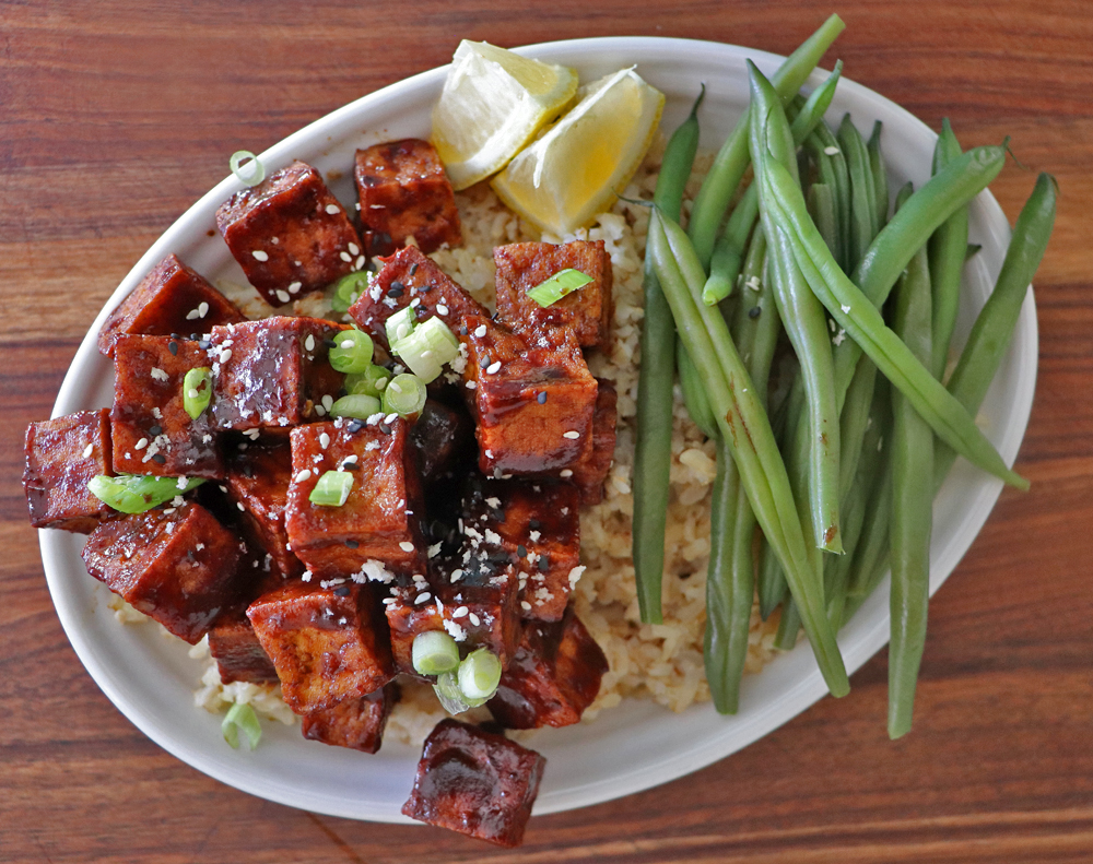 Overhead shot of Crispy Hoisin Glazed Tofu with Green Beans