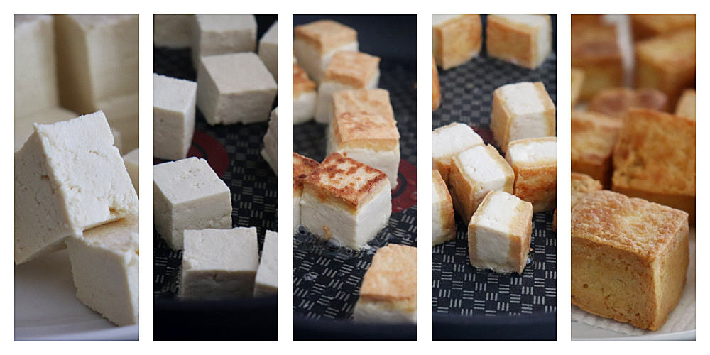 Collage of how to brown the tofu