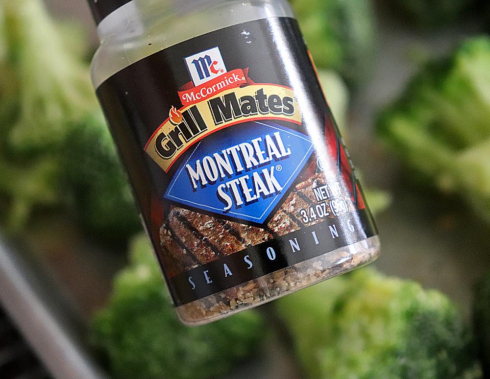 Adding Montreal Seasoning to the broccoli