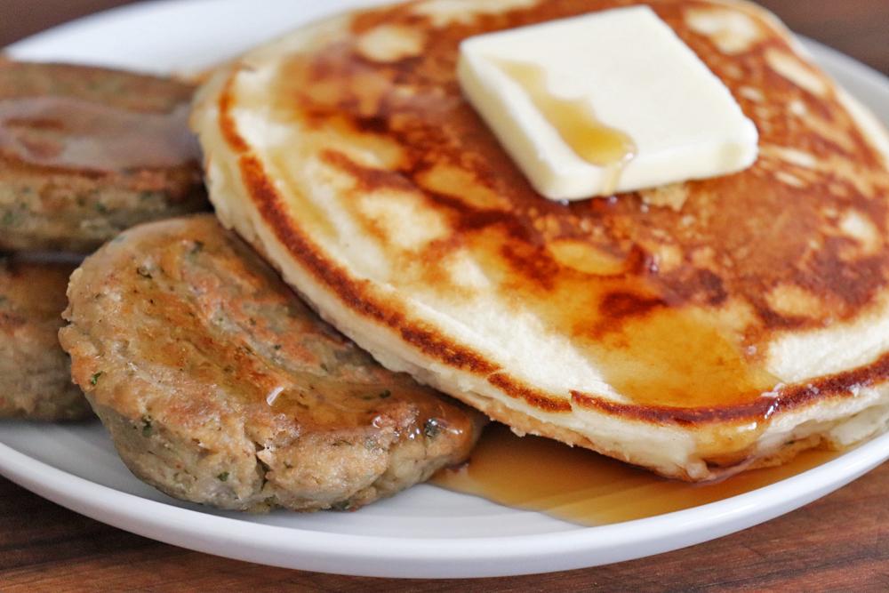 Pancakes and Jackfruit Sausage