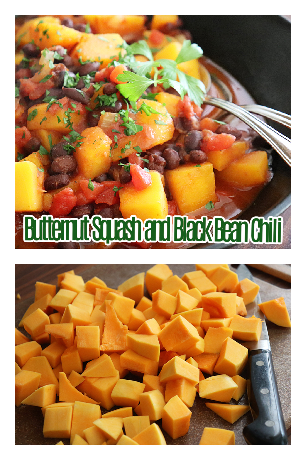 Pinterest Ad Pin for Butternut Squash and Black Bean Chili